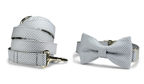 Gray Checkerboard Bow Tie Collar and Leash Set