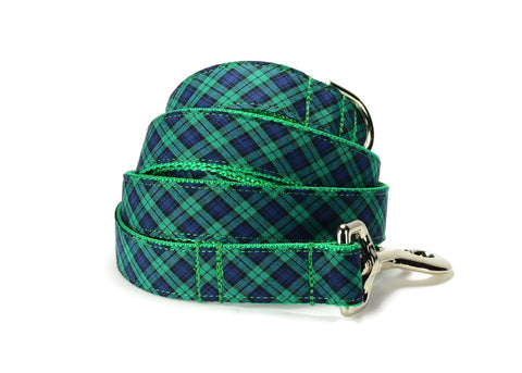 Green And Navy Plaid Bow Tie Collar and Leash Set