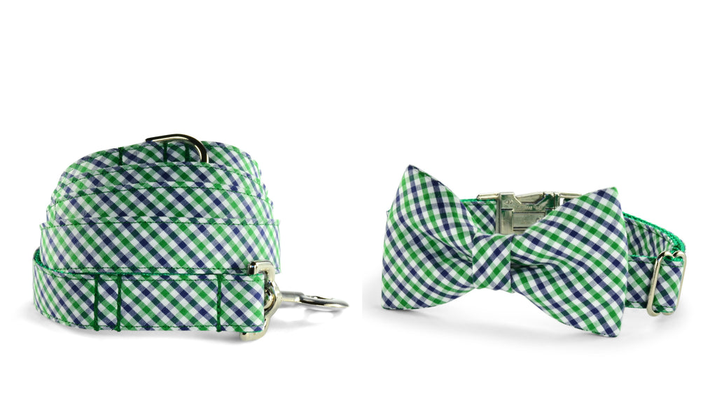 New! Green And Navy Gingham Bow Tie Collar and Leash Set