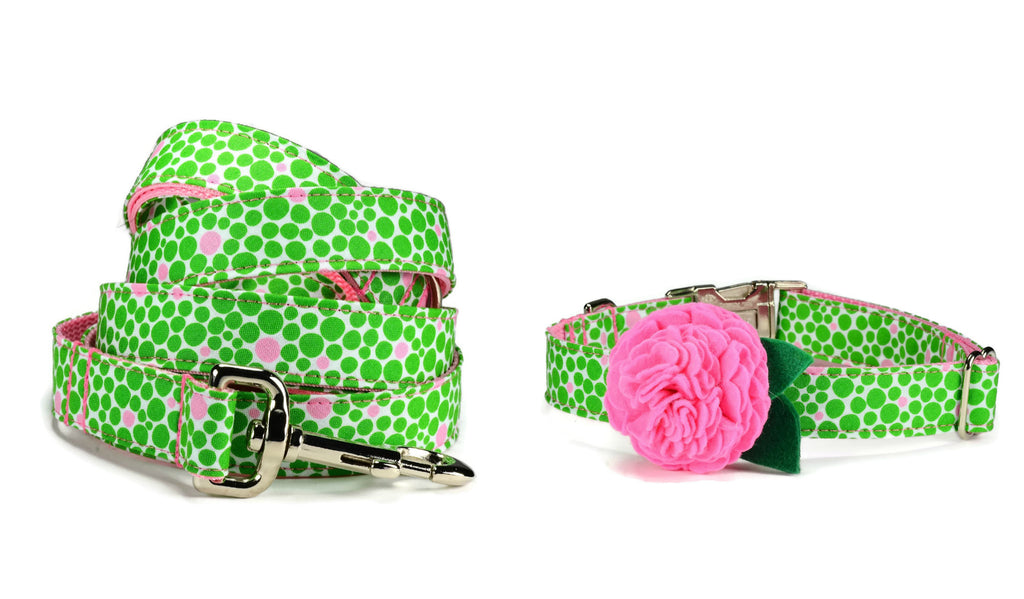 Green And Pink Bubbles Bloom Collar and Leash Set w/ Carnation Bloom