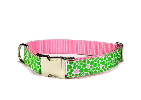 Green And Pink Bubbles Bloom Dog Collar w/ Carnation Bloom