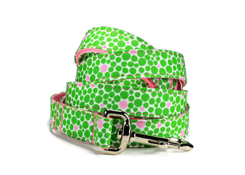 Green And Pink Bubbles Bow Tie Collar and Leash Set