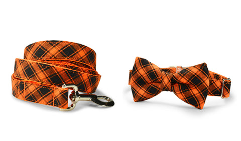 New! Halloween Plaid Bow Tie Collar and Leash Set