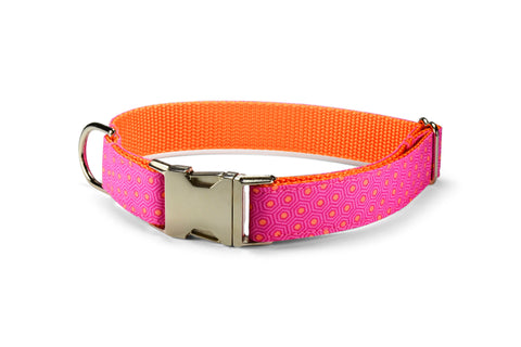 Pink And Orange Tortoise Shell Bloom Collar and Leash Set w/ Orange Bloom