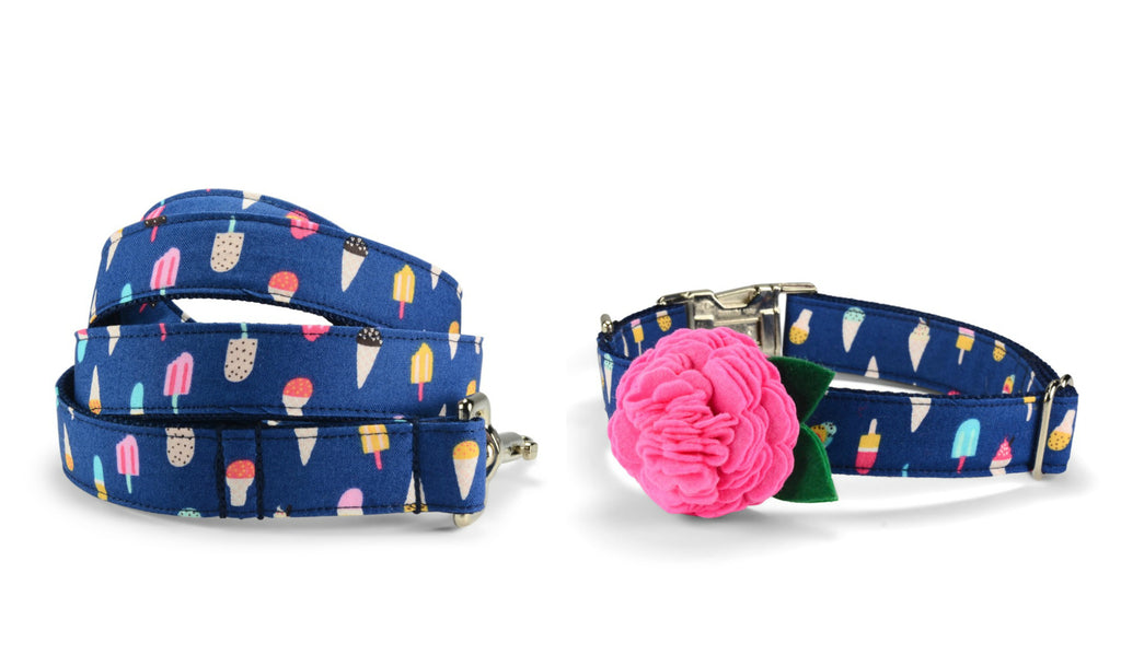 New! Ice Cream Bloom Collar and Leash Set w/ Carnation Bloom