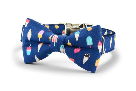 New! Ice Cream Bow Tie Dog Collar