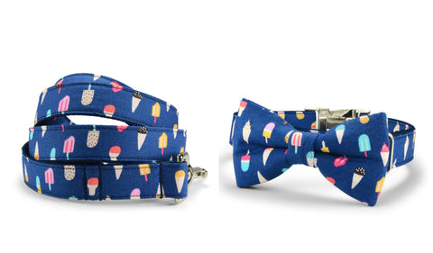 New! Ice Cream Bow Tie Collar and Leash Set