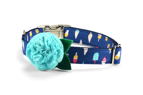New! Ice Cream Bloom Dog Collar w/ Aqua Bloom