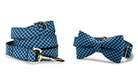 Indigo And Black Gingham Bow Tie Collar and Leash Set