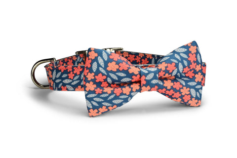 Indigo And Coral Floral Bow Tie Dog Collar