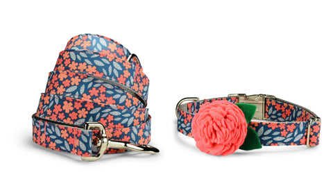 Indigo And Coral Floral Bloom Collar and Leash Set w/ Coral Bloom