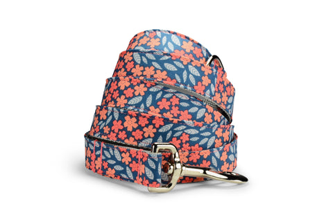 Indigo And Coral Floral Dog Leash