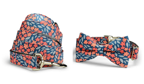 Indigo And Coral Floral Bow Tie Collar and Leash Set