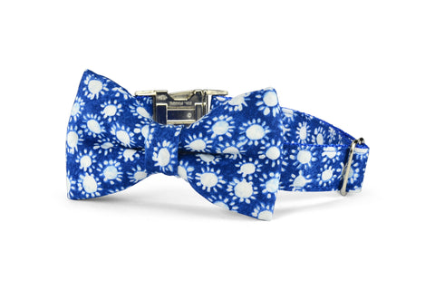 Indigo Sunburst Bow Tie Collar and Leash Set
