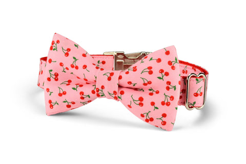 New! Sweet Cherries Bow Tie Dog Collar