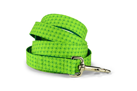 Lime Squiggles Bloom Collar and Leash Set w/ Carnation Bloom
