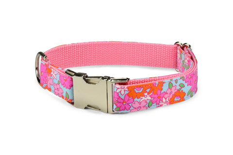 Lilly P. Bloom Collar and Leash Set w/ Aqua Bloom