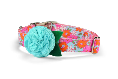 New! Lilly P. Bloom Dog Collar w/ Aqua Bloom