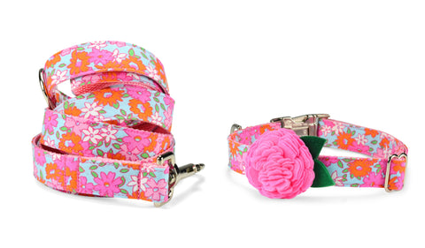 New! Lilly P. Bloom Collar and Leash Set w/ Carnation Bloom