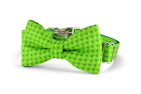 Lime Squiggles Bow Tie Dog Collar