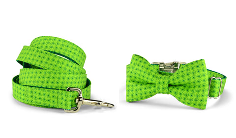 Lime Squiggles Bow Tie Collar and Leash Set
