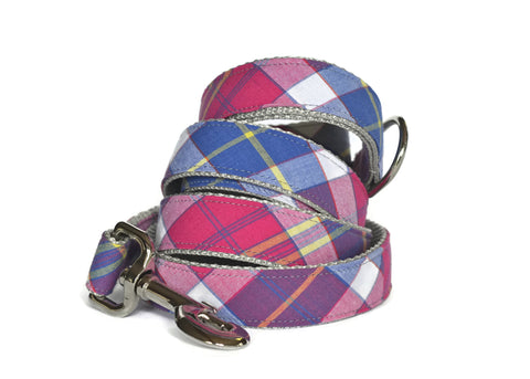 Madras Plaid Bow Tie Collar and Leash Set