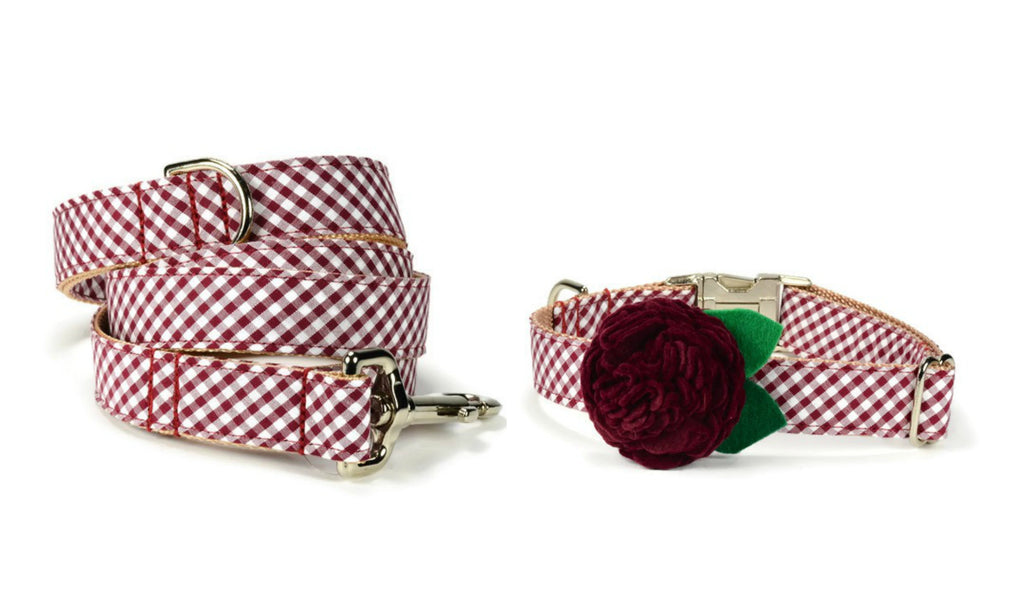 Maroon Gingham Bloom Collar and Leash Set w/ Maroon Bloom