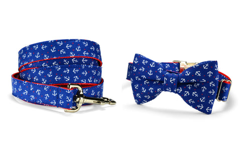 Mini Royal Anchor Bow Tie Collar and Leash Set