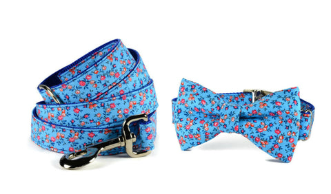 Mini Royal Floral Bow Tie Collar and Leash Set