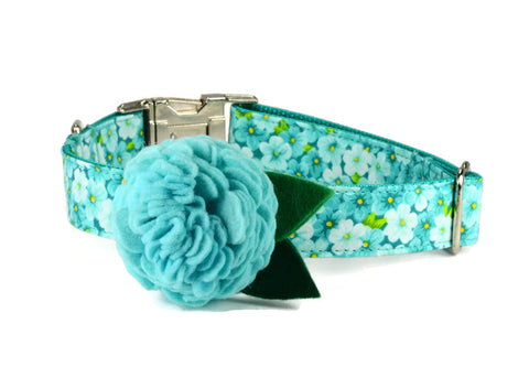 Mint Floral Bloom Dog Collar and Leash Set w/ Aqua Bloom