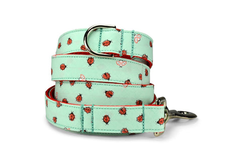New! Mint Ladybug Dog Leash