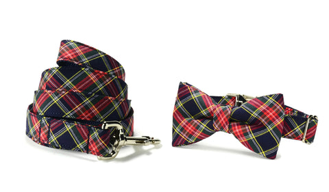 Navy And Red Plaid Bow Tie Collar and Leash Set