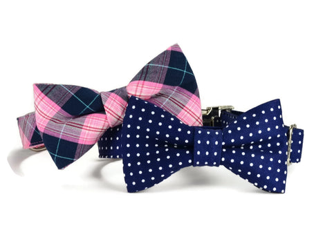 navy bow tie dog collar, polka dot dog bow tie collar, bow tie for dog, bowtie collar, bowtie for dog
