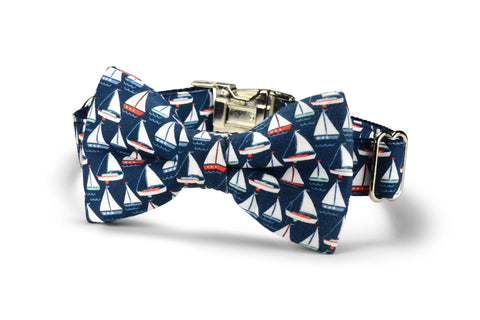 Navy Sailboat Bow Tie Dog Collar
