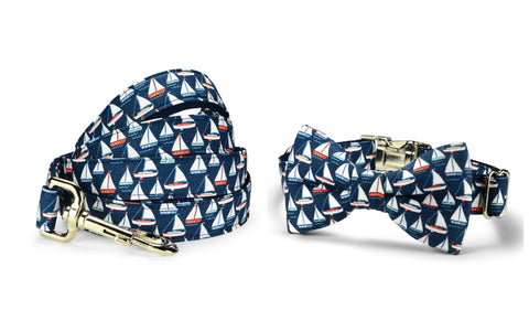 Navy Sailboat Bow Tie Collar and Leash Set