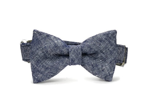 Navy Washed Linen Bow Tie Dog Collar
