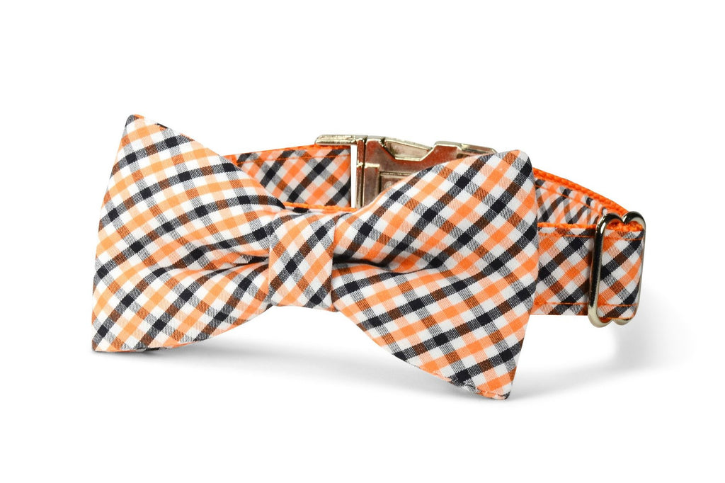 Orange And Black Gingham Bow Tie Dog Collar