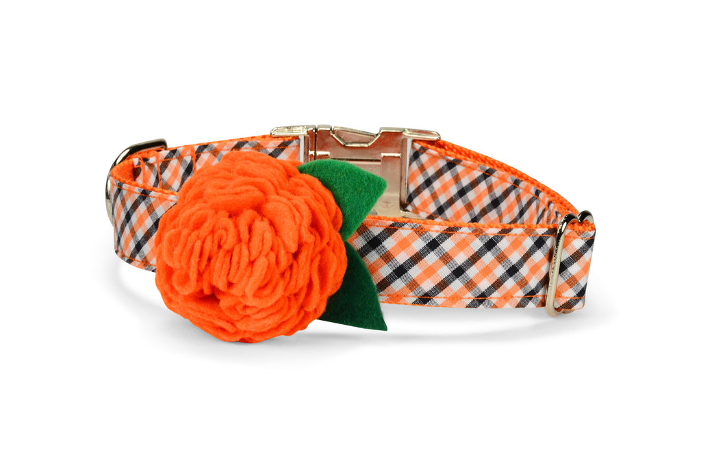 Orange And Black Gingham Bloom Dog Collar w/ Orange Bloom