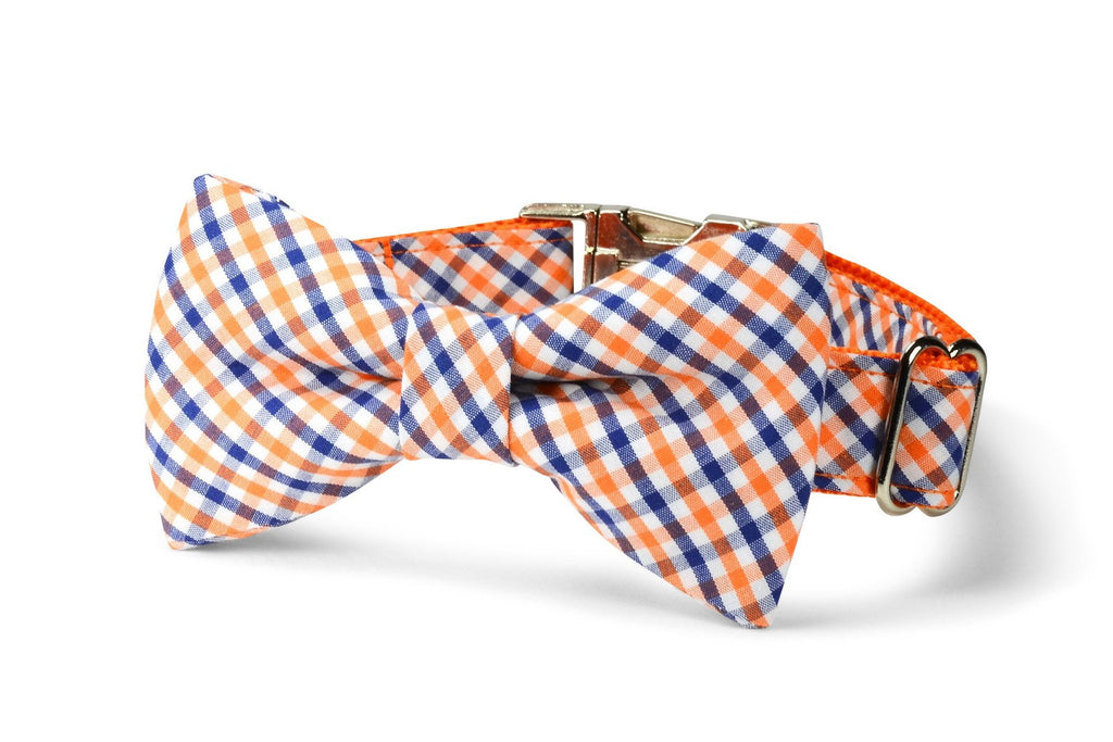 Orange And Navy Gingham Bow Tie Dog Collar