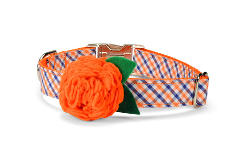 Orange And Navy Gingham Bloom Dog Collar w/ Orange Bloom