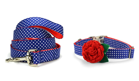 New! Patriotic Bloom Collar and Leash Set w/ Red Bloom