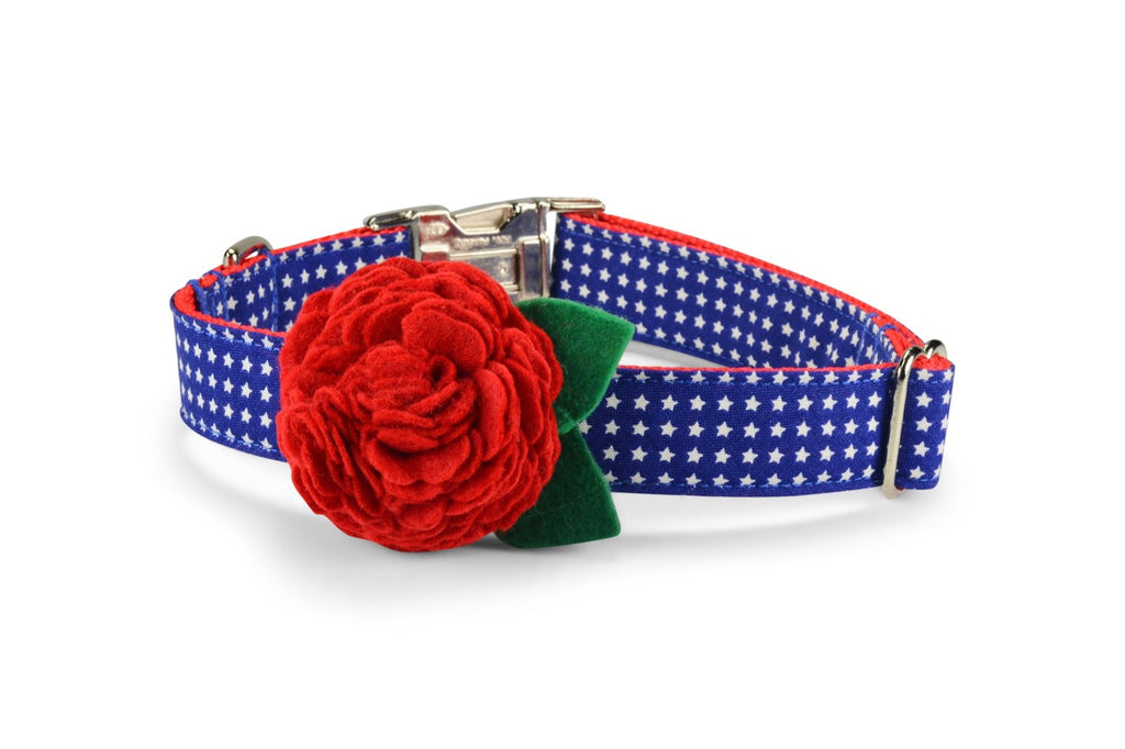 Patriotic Bloom Dog Collar w/ Red Bloom
