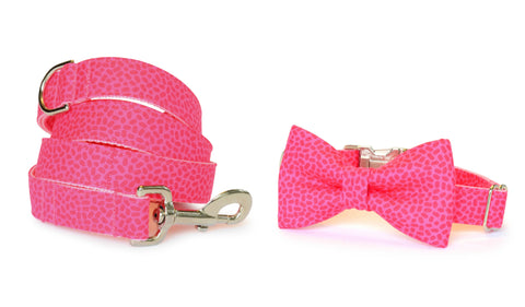 Peony Pink Confetti Bow Tie Collar and Leash Set