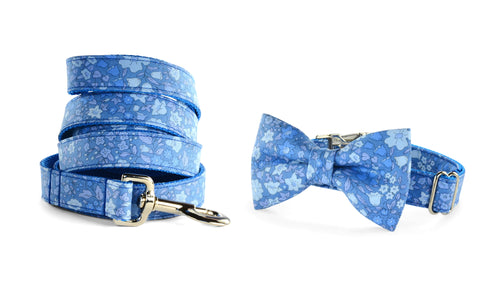 New! Periwinkle Floral Bow Tie Collar and Leash Set