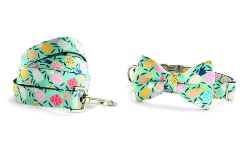 New! Juicy Pineapple Bow Tie Collar and Leash Set