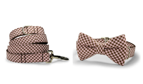Pink And Brown Gingham Bow Tie Collar and Leash Set