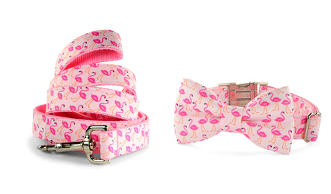 New! Pink Flamingo Bow Tie Collar and Leash Set