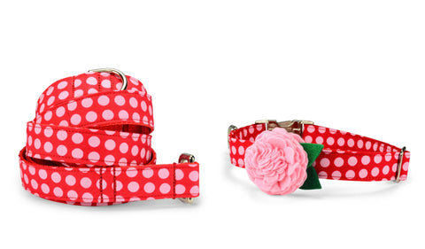 New! Pink On Red Polka Dot Bloom Collar and Leash Set w/ Blush Bloom