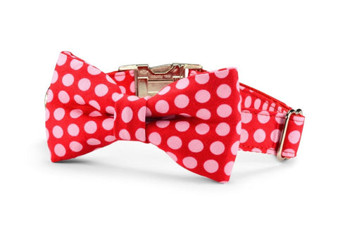 New! Pink On Red Polka Dot Bow Tie Dog Collar