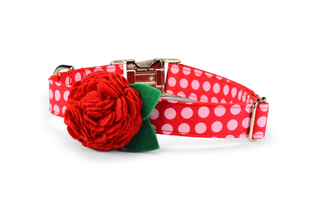 New! Pink On Red Polka Dot Bloom Dog Collar w/ Red Bloom